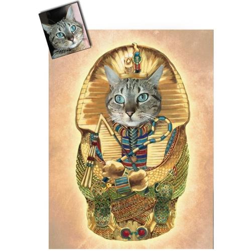 Portrait chat oeuvre d'art personnalisé Egypte