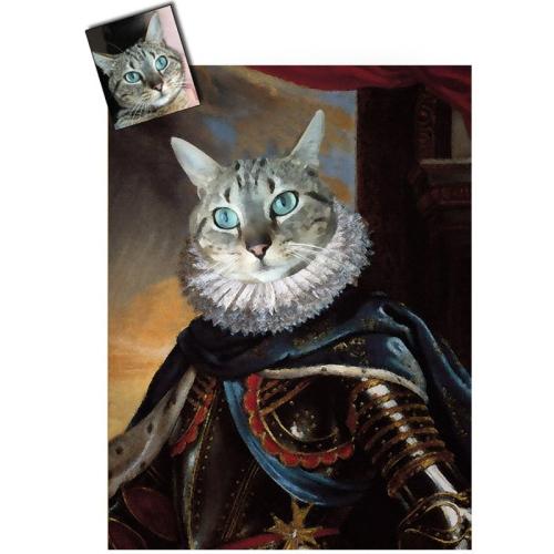 Portrait chat oeuvre d'art personnalisé Louis 13