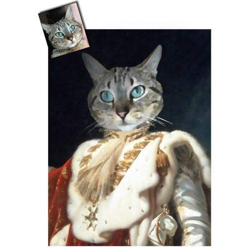 Portrait chat oeuvre d'art personnalisé Napoléon