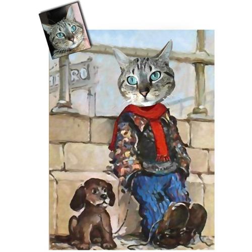 Portrait chat oeuvre d'art personnalisé Poulbot