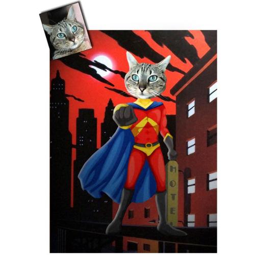 Portrait chat oeuvre d'art personnalisé Super héros