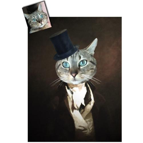 Portrait chat oeuvre d'art personnalisé Turner