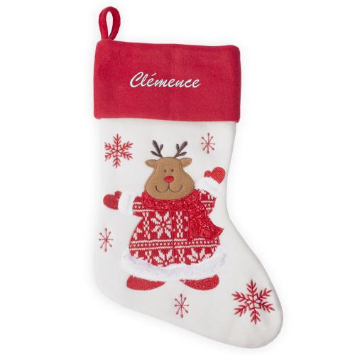Chaussette de Noël Renne tricot personnalisée