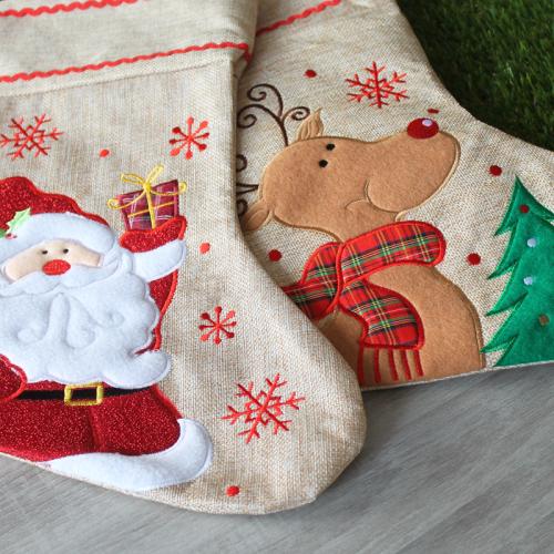 Chaussette de Noël en lin personnalisée