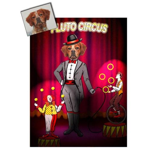 Portrait chien oeuvre d'art personnalisé Cirque