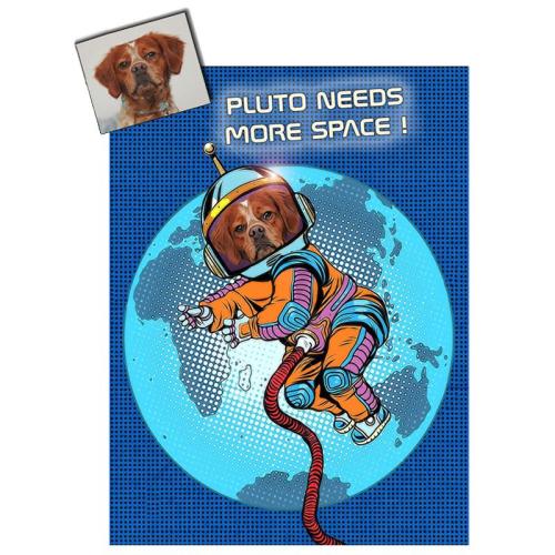 Portrait chien oeuvre d'art personnalisé Astronaute