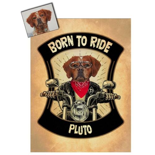 Portrait chien oeuvre d'art personnalisé Moto