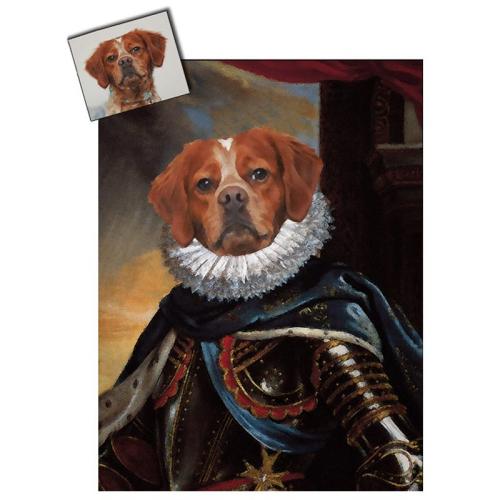 Portrait chien oeuvre d'art personnalisé Louis 13