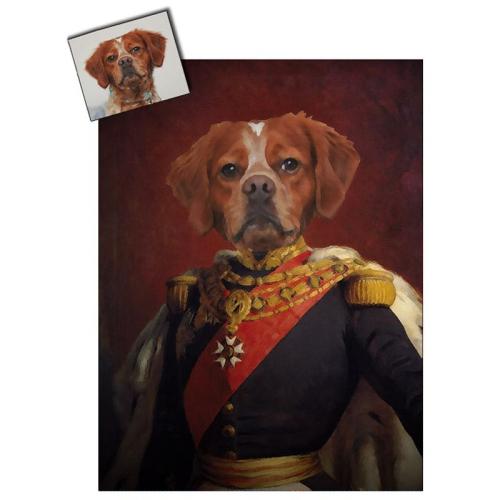 Portrait chien oeuvre d'art personnalisé Napoléon