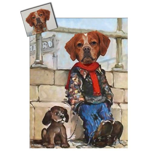 Portrait chien oeuvre d'art personnalisé Poulbot