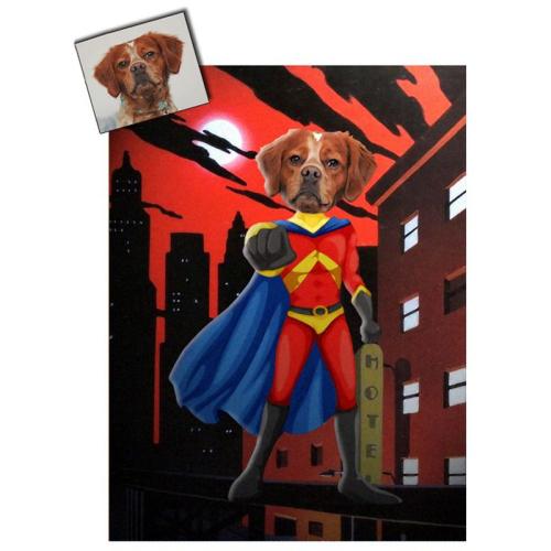 Portrait chien oeuvre d'art personnalisé Super héros