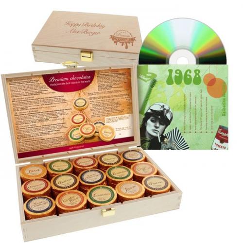 Coffret chocolats et CD de l'année de naissance
