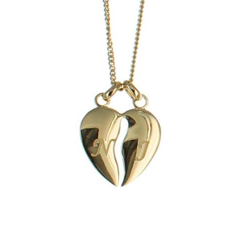 Collier coeur sécable gravé avec chaines