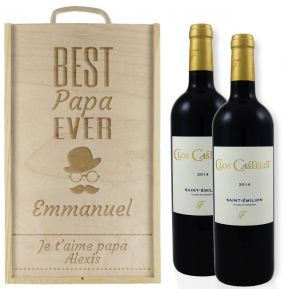 Caisse à vin 2 bouteilles Papa gravée