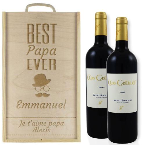 Coffret à vin 2 bouteilles fête des pères