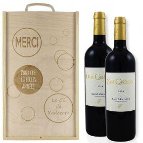 Caisse à vin 2 bouteilles bulles gravée