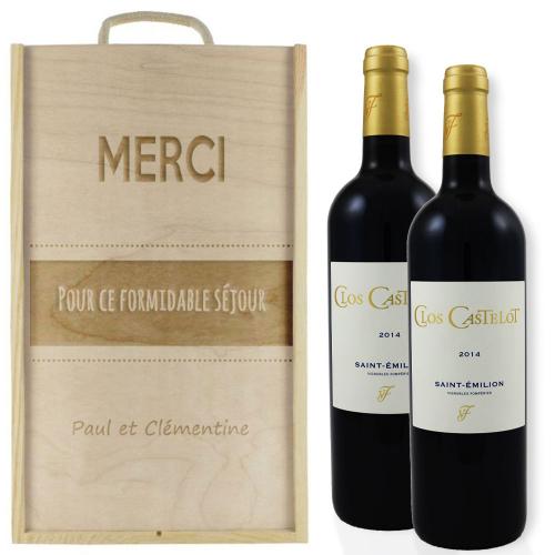 Caisse à vin personnalisée graphique pour 2 bouteilles