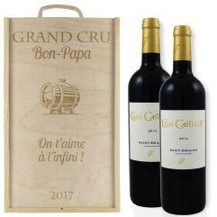 Caisse à vin 2 bouteilles classique personnalisée