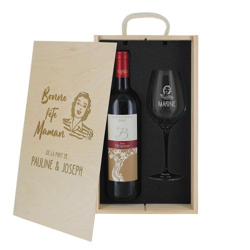 Coffret personnalisé verre gravé et vin pour les mamans