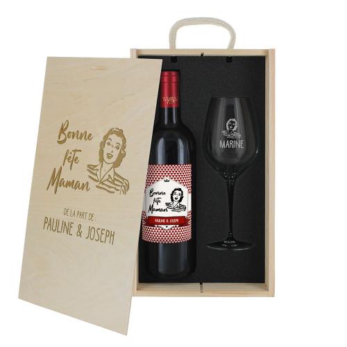 Coffret personnalisé verre gravé et vin pour la fête des mères