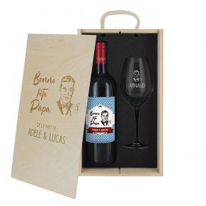 Coffret à vin 2 pièces personnalisé Fête des Pères