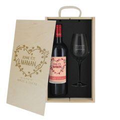 Coffret à vin 2 pièces personnalisé Bonne fête Maman