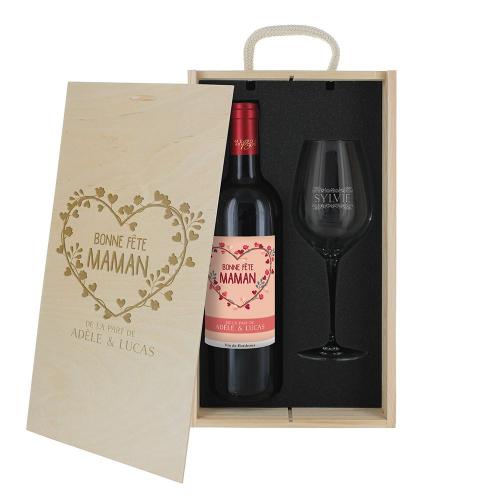 Coffret à vin 2 pièces bonne fête Maman