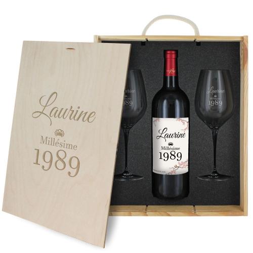 Coffret cadeau vin : 2 verres à pied et une bouteille de vin personnalisés