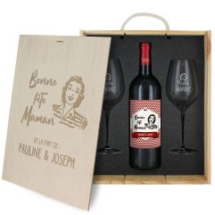 Coffret à vin 3 pièces personnalisé Fête des Mères
