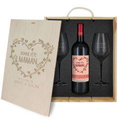 Coffret à vin 3 pièces personnalisé Bonne fête Maman