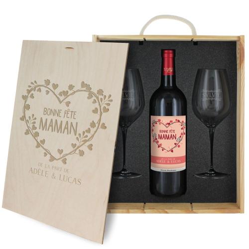 Coffret à vin Fête des Mères personnalisé