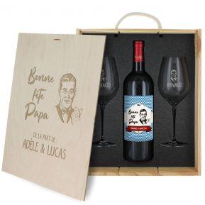 Coffret à vin 3 pièces personnalisé Fête des Pères