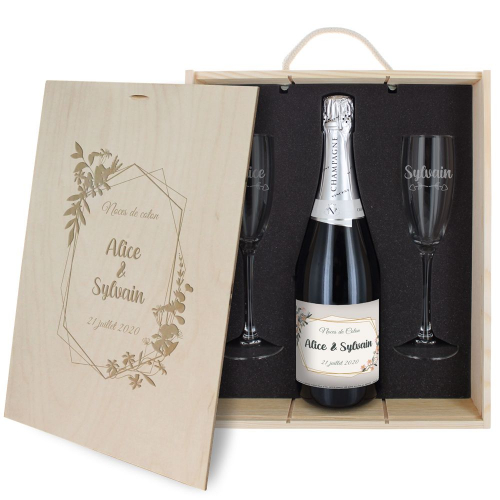 Coffret à champagne mariage personnalisé