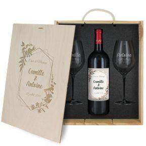 Coffret à vin 3 pièces personnalisé mariage