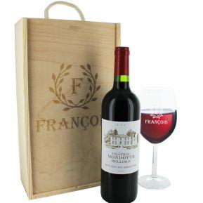 Coffret cadeau vin et verre gravés lauriers