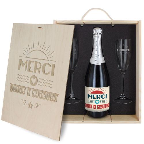 Coffret à Champagne personnalisé Merci