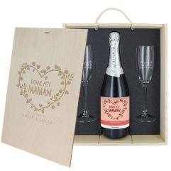 Coffret à Champagne personnalisé Bonne fête Maman