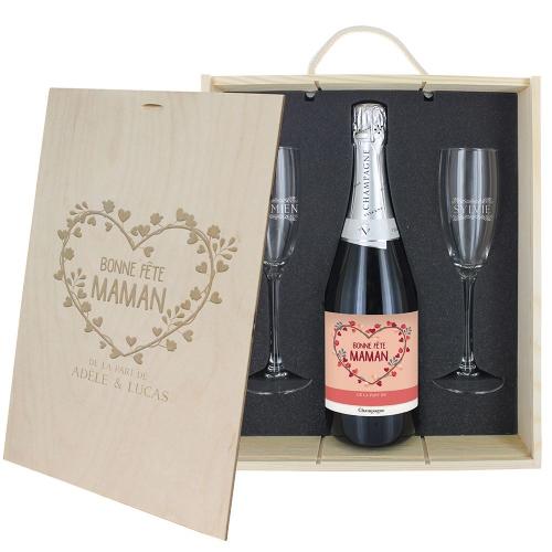 Coffret champagne personnalisé bonne fête Maman