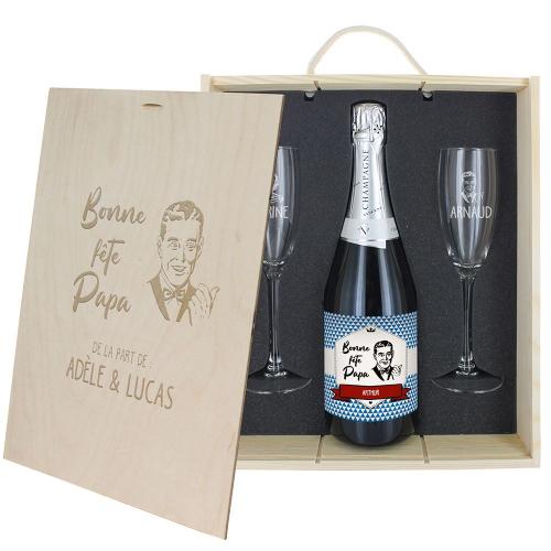 Coffret Champagne fête des pères personnalisé