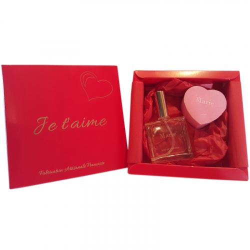 Coffret parfum et savon cœur personnalisé