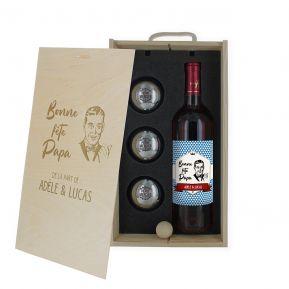 Coffret vin et pétanque personnalisé Fête des Pères