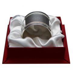Rond de serviette perle uni en argent massif