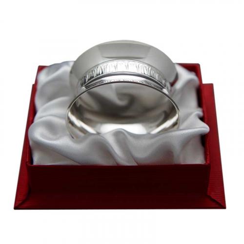 Coffret rond de serviette tambourin en métal argenté