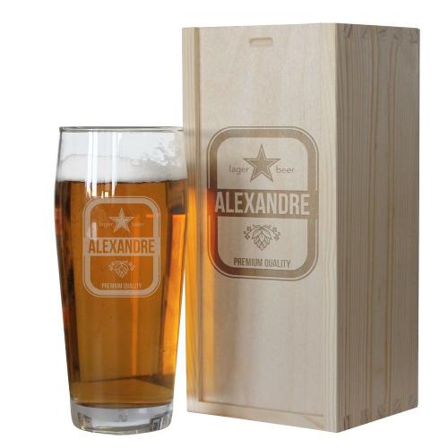 Coffret verre à bière prénom