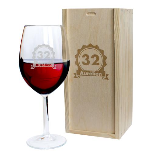 Verre à vin badge anniversaire