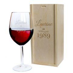 Verre à vin anniversaire gravé