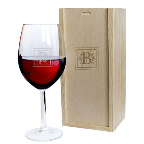 Coffret verre à vin gravé intiale