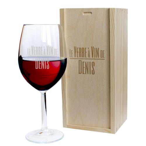 Coffret verre à vin gravé prénom