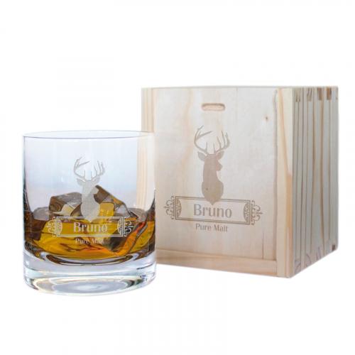 Coffret verre à whisky cerf