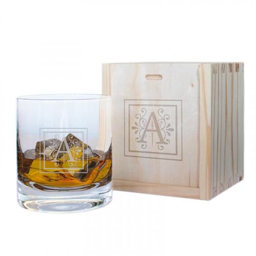 Coffret verre à whisky intiale